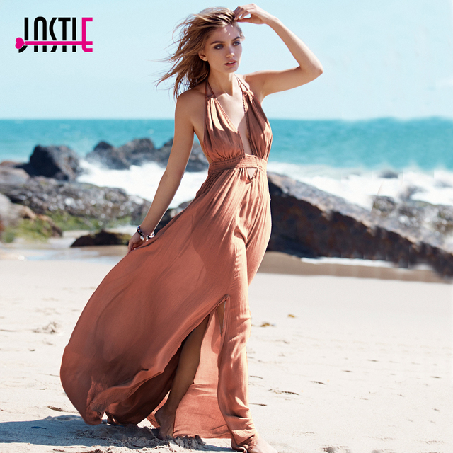 Jastie Stretchy Hollow Waist Deep V-Neck Maxi Dresses Backless Halter Neck  with Tassel Tie f22ccfcd4