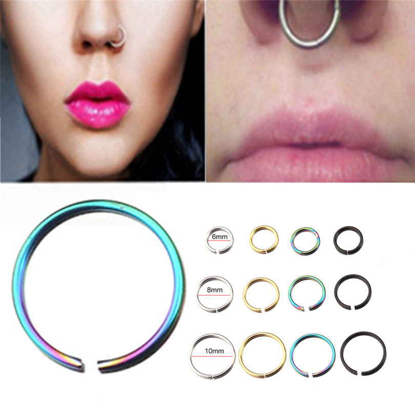 1PC Steel Tiny Nostril Segment Septo Nose Rings Captive Ear Nose Hoop Piercings Clip on Helix Rings Body Jewelry 4 Color30JUL164