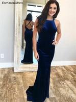 abiye gece elbisesi Royal Blue Velvet Mermaid Evening Dresses 2019 Corset Back Formal Party Gowns Cheap Abendkleid