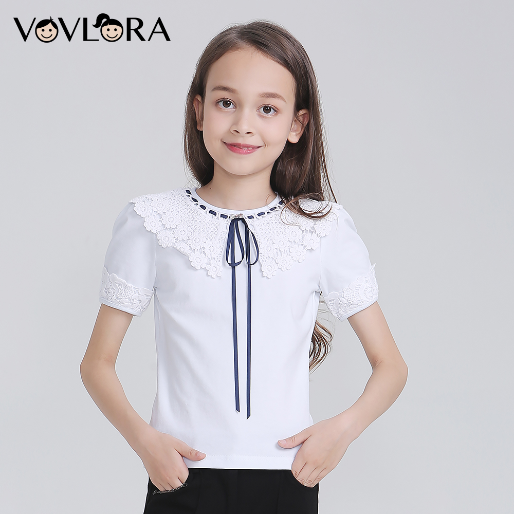 White Girls T-shirts Cotton Lace Kids T Shirt Tops Knitted Children Tshirt School Clothes Autumn Size 9 10 11 12 13 14 Years