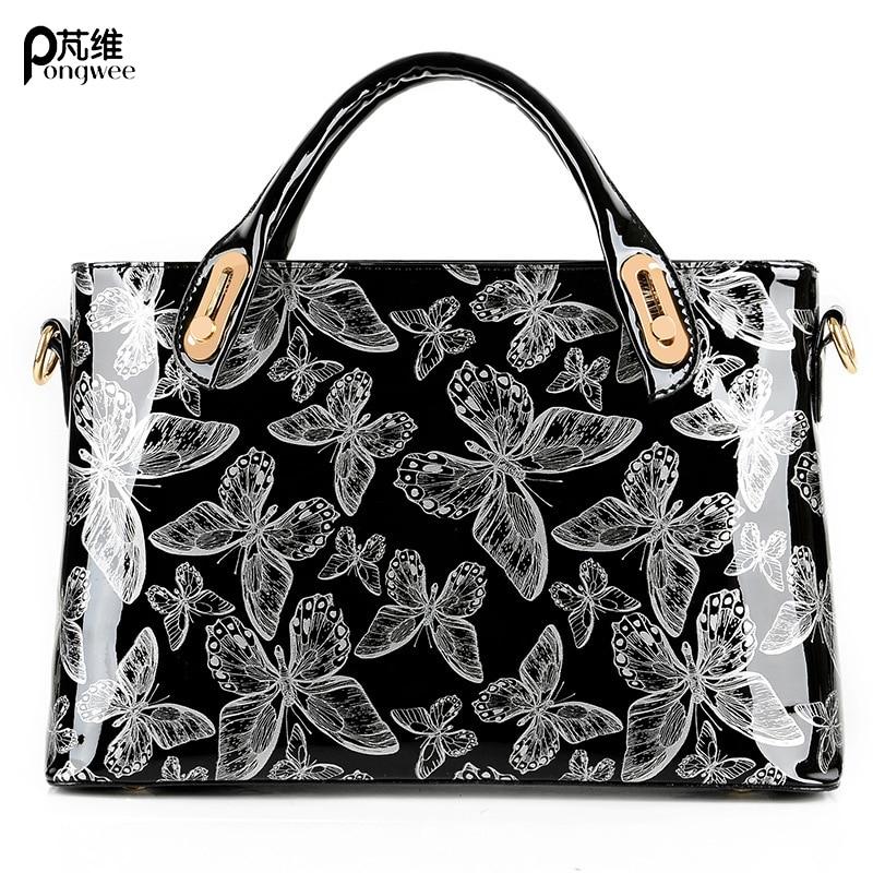 PONGWEE 2018 Big Tote Bag Ladies Hand Bags Casual Women Shoulder Bags Silver Handbag High Quality Messenger PU Leather Female