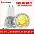 Супер Яркий GU10 СВЕТОДИОДНЫЕ Лампы 3 Вт 5 Вт 7 Вт светодиодная лампа GU10 COB Затемнения GU 10 светодиодный Прожектор Теплый/Холодный Белый Бесплатная доставка