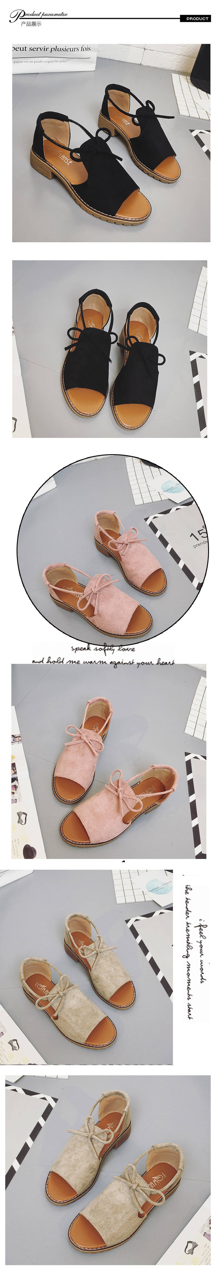 2018 New Thick with Sandals Female Summer Fish Mouth Buckle Roman Shoes Solid Color Low-heeled Women Sandals