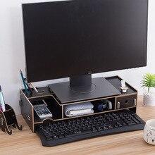 מיני מחשב צג בסיס מחשב מסך אחסון מתלה עם מגירת שולחן עבודה ארגונית עבור נייח/נייד/מקלדת מחשב נייד Stand