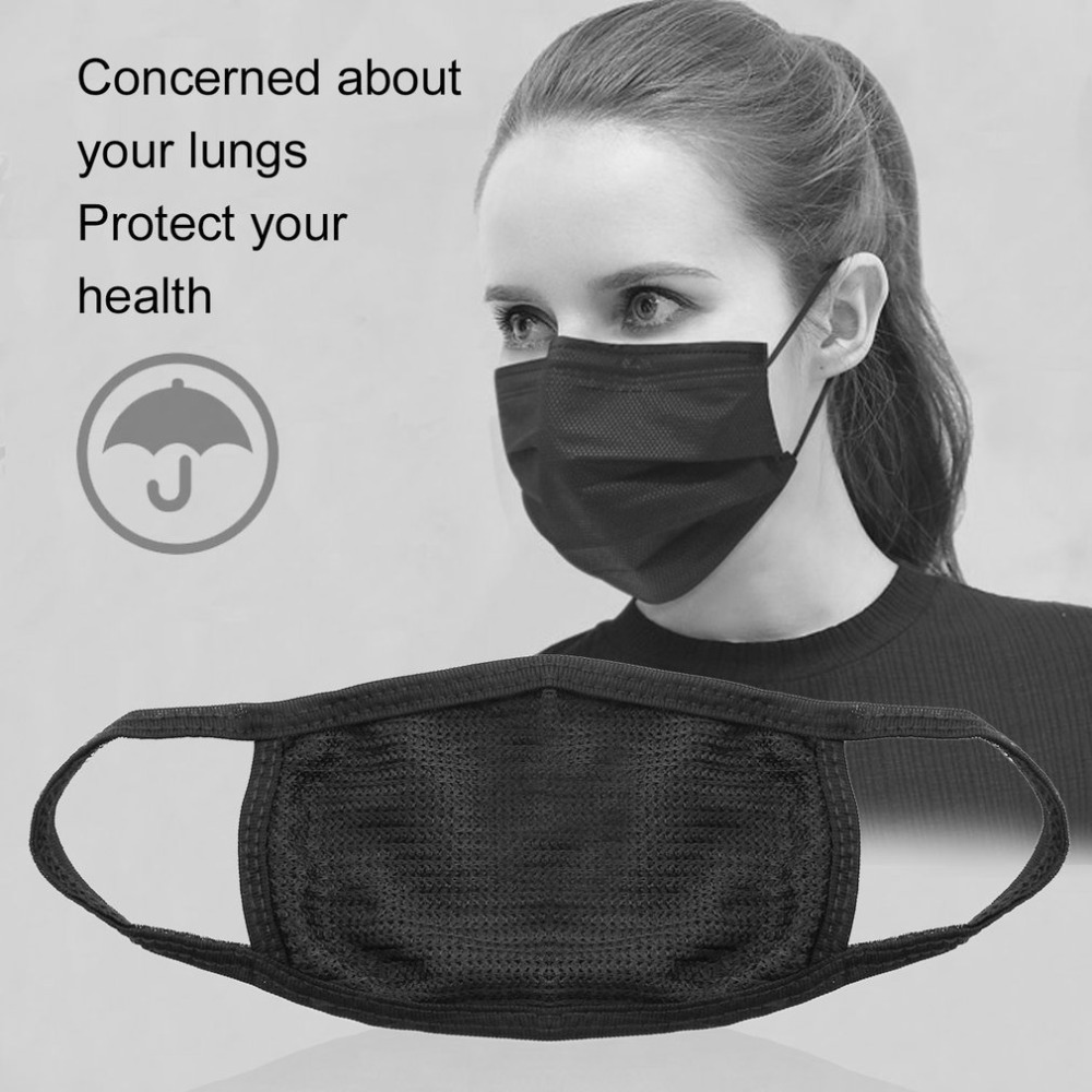 Men's Masks Face Mask Cotton Mouth Mask Black Anti Haze Dust Masks Filter Windproof Mouth-muffle Bacteria Flu Fabric Cloth Respirator &2 Men's Accessories