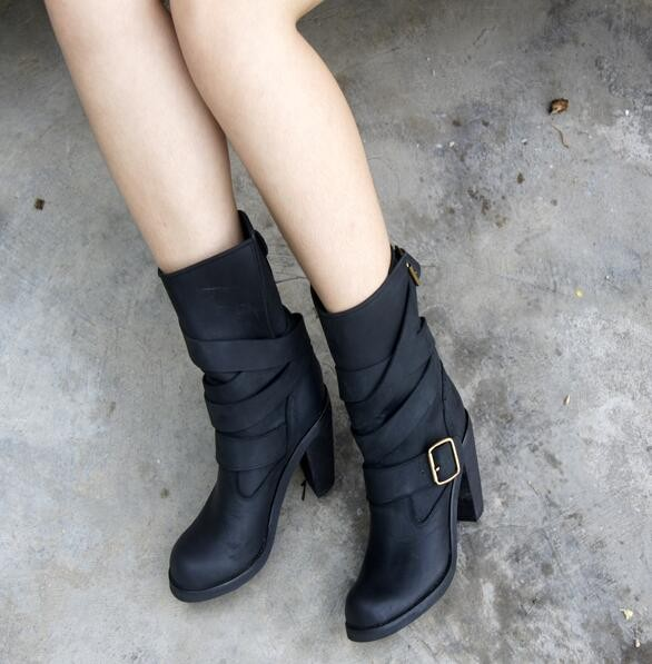 2016 fashion cross strap woman ankle boots chunky heels hot selling winter buckle strap retro style