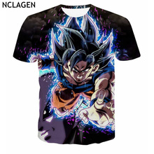 NCLAGEN Men's Casual Clothing Short Sleeve Loose Dragon Ball Super Z Ultra Instinct Grey Jiren Vs Son Goku 3D Printed T-Shirt