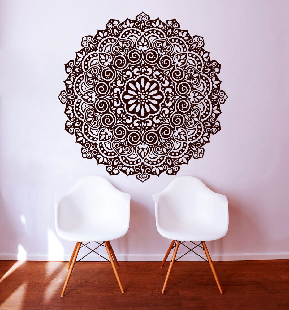 Mandala Menhdi Om Indian Hindu Buddha Wall Decal Vinyl Sticker Art - Διακόσμηση σπιτιού