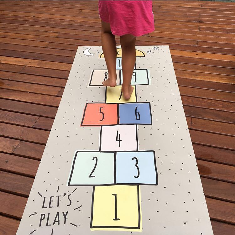 Nordic Baby Hopscotch Game Mat Kids Activity Play Gym Mats Children Infant Adventure Road Rugs Crawling Carpet For Children Room