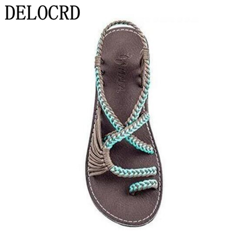 19Hot Women's Sandals Large Size Women's Sandals Rope Knot  Summer Europe The United States Beach Toe Flat Sandals Women's Shoes(China)