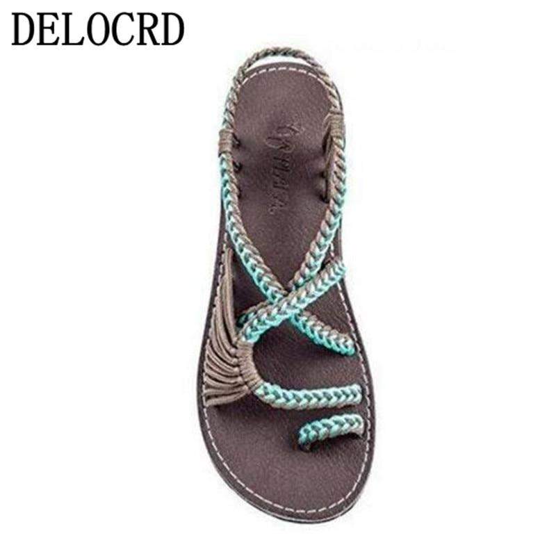 19Hot femmes sandales grande taille femmes sandales corde noeud été Europe les états-unis plage orteil plat sandales chaussures pour femmes