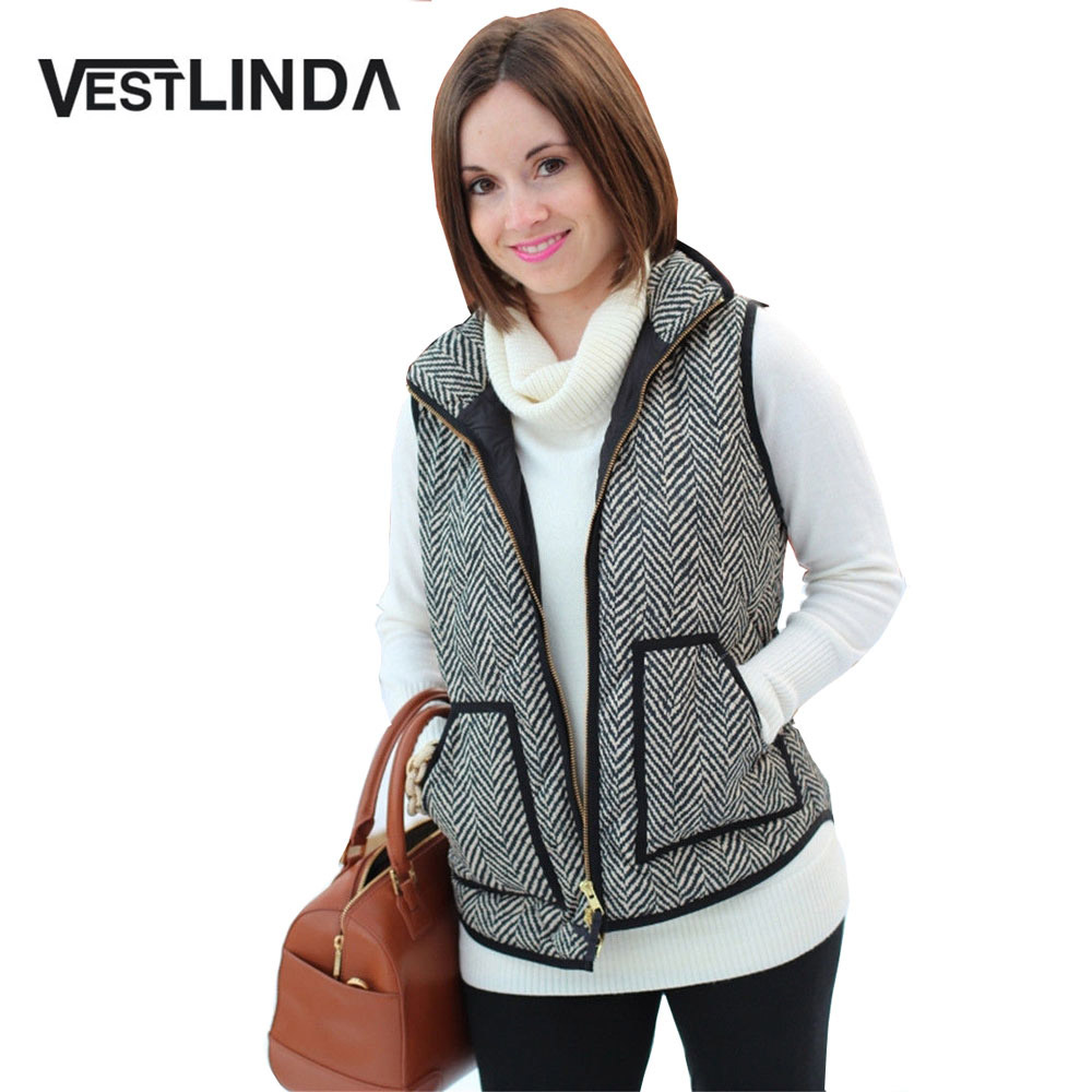 VESTLINDA Vest Women Winter Casual Jacket Vest Coat Veste Femme Striped Hooded Waistcoat Fashion Zipper Short Vest Plus Size 1