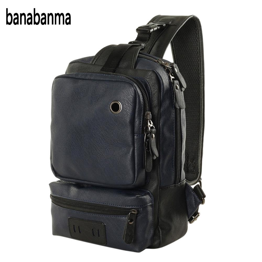 banabanma Casual Mens PU Leather Multi Pockets Sling Chest Pack Bag Large space Single Shoulder Back Day Pack Travel ZK30