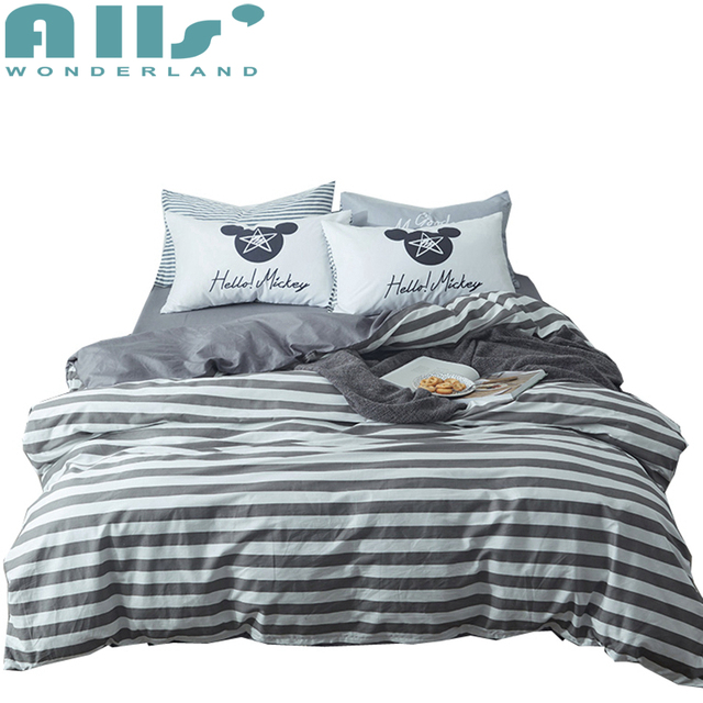 Grey White Striped Bedding Designer Bed Sheets Luxurious Bed Spread