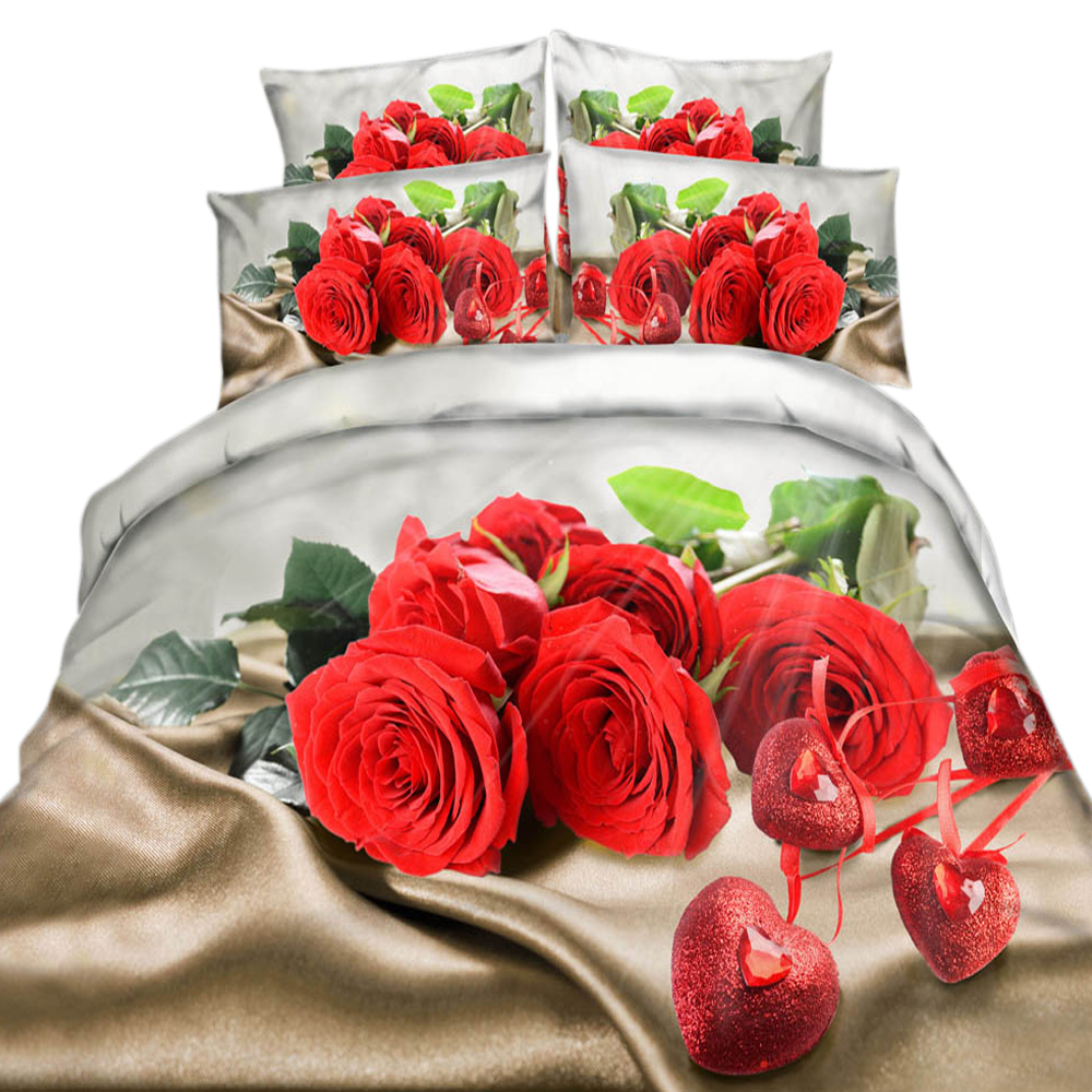 4PCS Floral Printed Red Roses Garden 100/% Cotton Sheets /& Ruffled Pillowcases