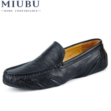MIUBU Fashion British Style Men Causal Shoes Genuine Leather Slip On High Quality Outdoor Zapatos Hombre