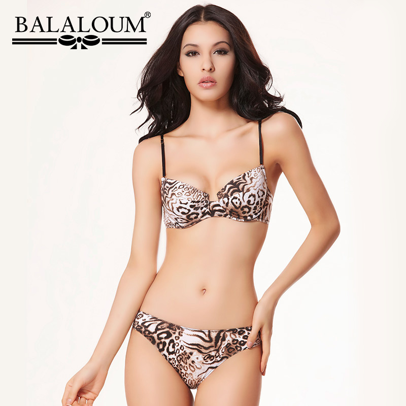 Balaloum Sexy Leopard Print Push Up Bra Brief Sets T-shirt Bra Women Lingerie Set Seamless Comfortable Underwear For Ladies