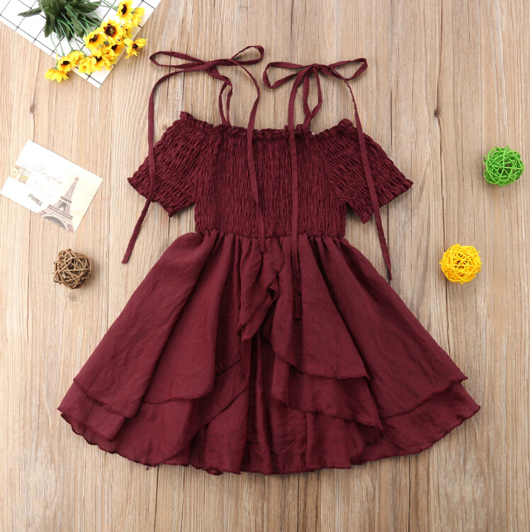 Family Matching Women Kids Baby Girls Off Shoulder Strap Ruffles Tutu Dress Sundress Mom Daughter Summer Dresses Wine Red