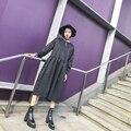Уличная мода классический сплошной цвет негабаритных лоскутная эластичный высокой талии молния о-образным вырезом цельный dress женский