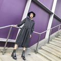 Street fashion classic solid color oversize patchwork elastic high waist zipper o-neck one-piece dress female