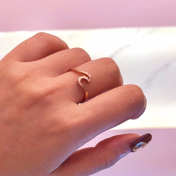 Mossovy Wave Alloy srebrny pierścionki Charms Rose Gold Ring obrączki dla kobiet moda biżuteria Bague Femme anillos mujer tanie i dobre opinie Rings Trendy Geometryczne Wedding Bands 18050703 Brak Stop cynkowy Metal Strona Dekoracji