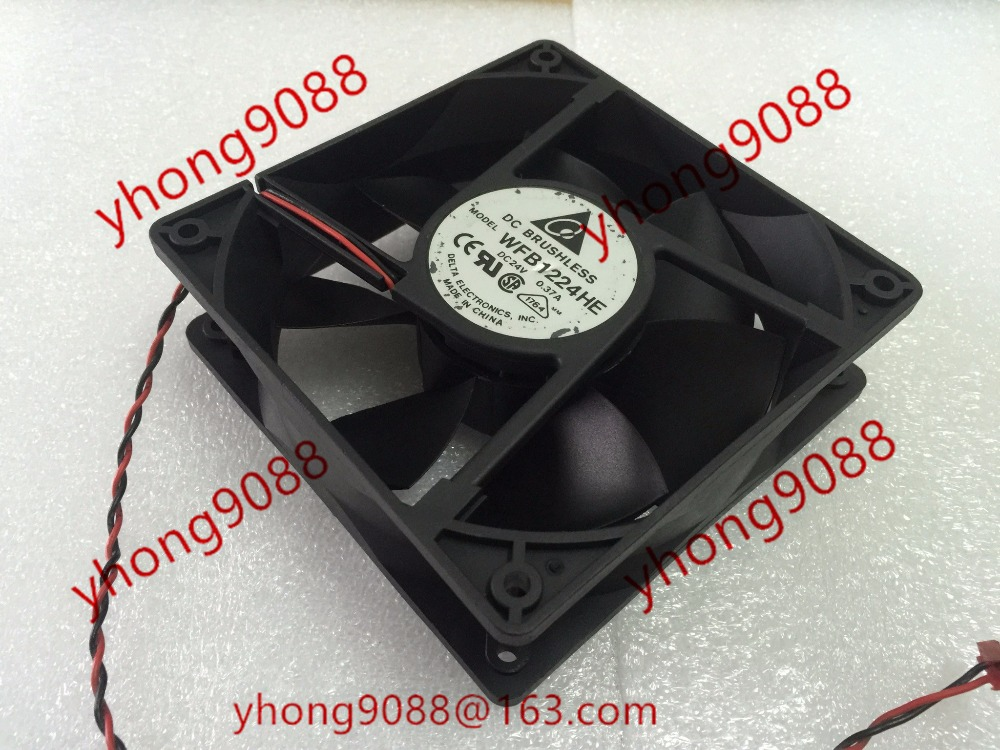 Free Shipping For DELTA WFB1224HE DC 24V 0.37A 2-wire 2-Pin connector 100mm 120x120x38mm Server Square Cooling fan free shipping for delta aub0512lb cp54 dc 12v 0 11a 2 wire 2 pin connector 70mm 50x50x15mm server square cooling fan
