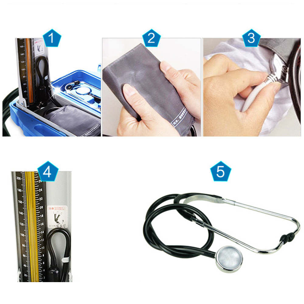 Image 5 - Yuwell Mercury Sphygmomanometer Professional Medical Equipment Home Health Blood Pressure Monitor Stethoscope Hematomanometer-in Blood Pressure from Beauty & Health
