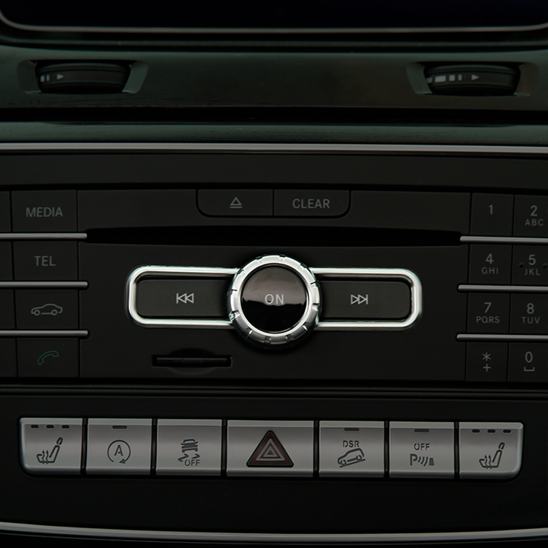 Car Styling ABS Chrome CD Switch Sequin Trim For <font><b>Mercedes</b></font> Benz GLA CLA A B Class A180 <font><b>W176</b></font> E GLE Class Coupe <font><b>Interior</b></font> Accessory image