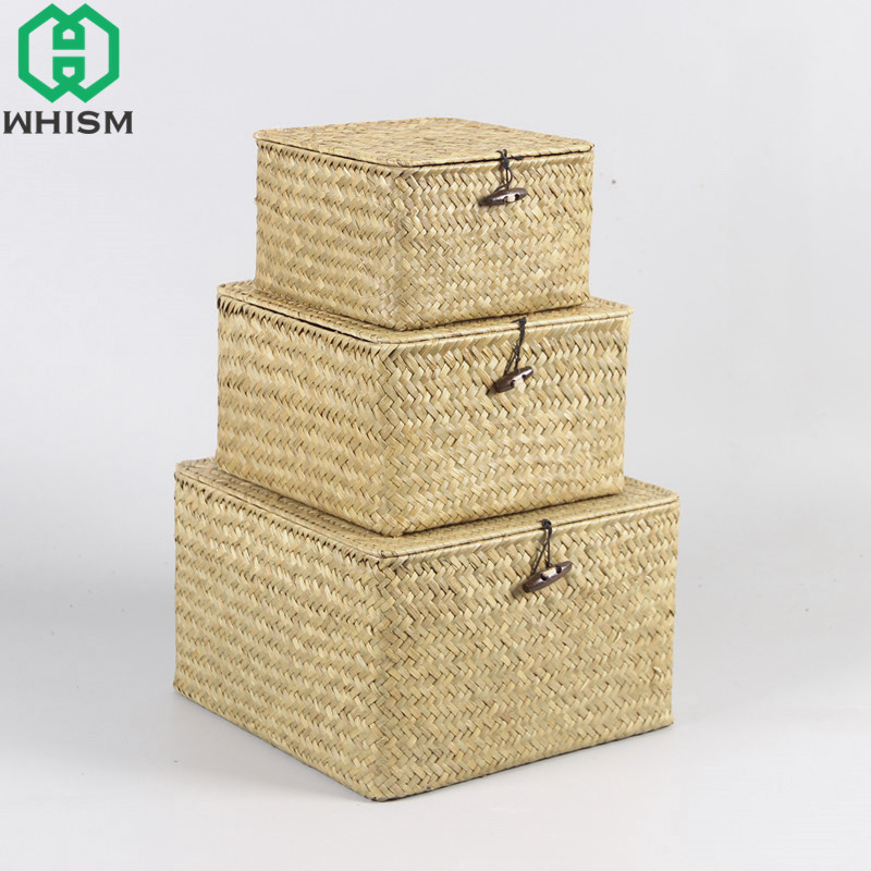 WHISM Rattan Storage Box With Lid Hand Woven Jewelry Box Wicker Makeup  Organizer Food Container Storage Boxes Bins For Kids Toys