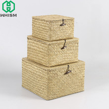 WHISM Rattan Storage Box With Lid Hand-woven Jewelry Box Wicker Makeup Organizer Food Container Storage Boxes Bins For Kids Toys