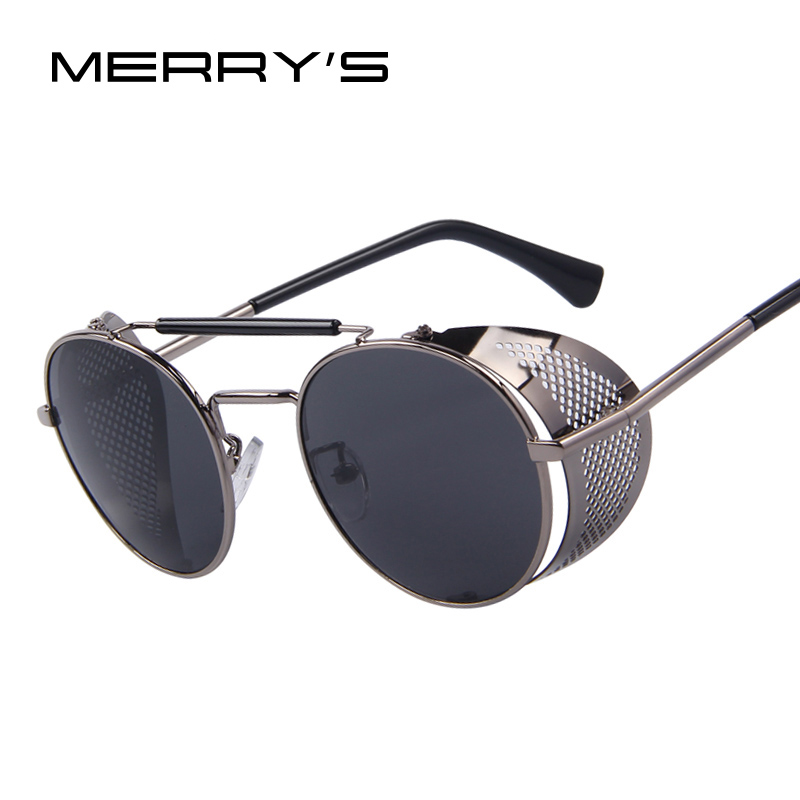 MERRY'S Women Retro Design Round Steampunk Solglasögon Oculos de sol UV400