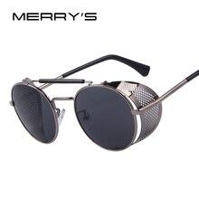 MERRY'S Women Retro Design Round Sunglasses Men Shields Steampunk Sunglasses Oculos de sol UV400
