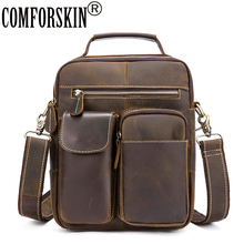 COMFORSKIN Bolsa Masculina Premium Genuine Crazy Horse Leather Guaranteed 2018 European American Men Messenger Bags Hot Sales