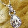 Luxury 2 Carat Pear Cut Diamante Simulado Boda de Halo Colgante Plata de Ley 925 de Compromiso de Platino Plateado Colgante y Collar