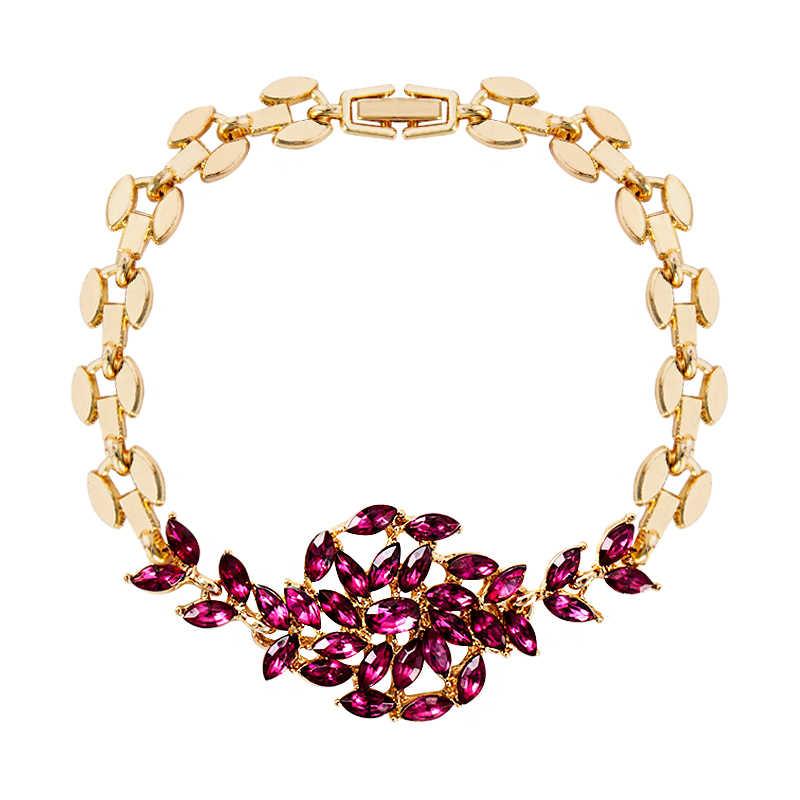 SHUANGR moda damska/damska nowe złote kolory austriacki kryształ 5 kolorów Rhinetones bransoletki i Bangles biżuteria