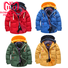 hot deal buy 5t-12t snowsuit children cold winter down thickening warm solid casual jackets brand boys hooded outerwear coats cheap jacket