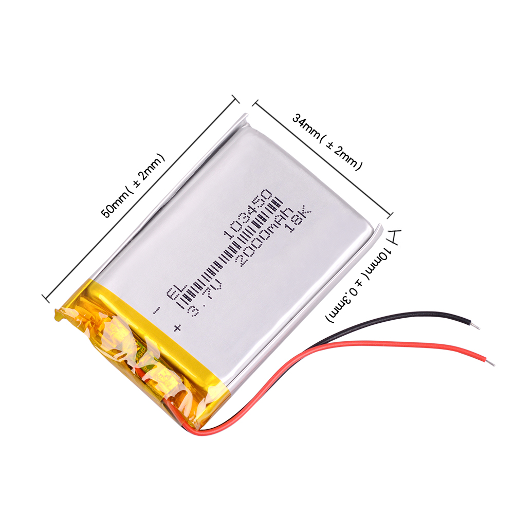 <font><b>3.7V</b></font> <font><b>2000mAh</b></font> 103450 <font><b>Lipo</b></font> Polymer Lithium Rechargeable <font><b>Battery</b></font> navigator DVR GPS camera image