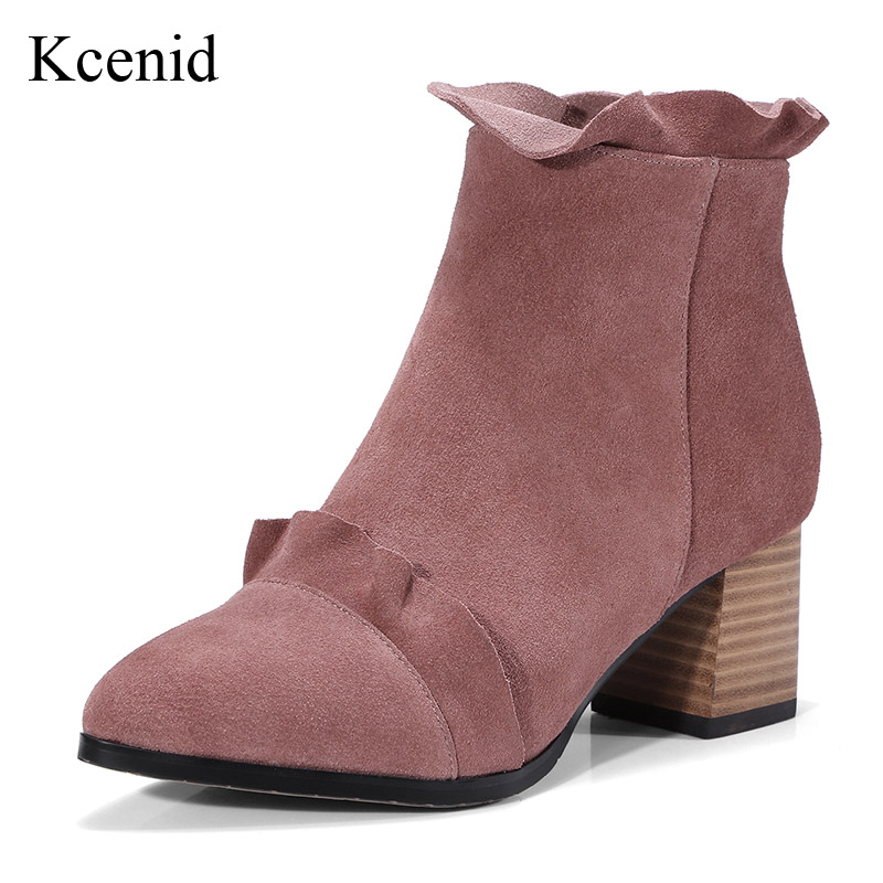 Kcenid Sexy pointed toe fashion ruffles ankle boots woman chunky high heel cow suede boots sweet girl autumn winter pink shoes crystal suede nude pink chunky heel ankle boots women round toe autumn winter super high heel booties rhinestone fleeces shoes