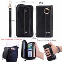 Finger Ring Belt Hand Strap PU Wallet Phone Case Pouch For Xiaomi Redmi Note 7,Mi Play,Oppo Find X A3s A83 A7 F7,vivo NEX S Y71