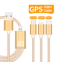 USB Speed Charging Cable with GPS Tracking for Auto Locating via Free APP & Micro/Light/Type-C Multi USB Port & Strong Fabric