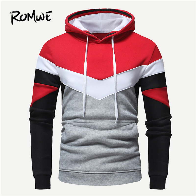 ROMWE Men Color Block Drawstring Hoodies Mankind Autumn Casual Long Sleeve Pullovers Male Clothing Mens 2019 Hooded Sweatshirts