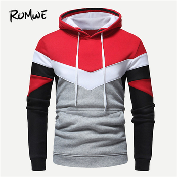 ROMWE Men Color Block Drawstring Hoodies Mankind Autumn Casual Long Sleeve Pullovers Male Clothing Mens 2018 Hooded Sweatshirts