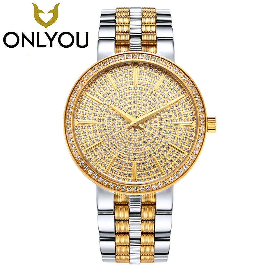 ONLYOU Lover Watches Women Crystal Diamond Wristwatch Men Luxury Famous Brand Quartz Watch For Male All Steel Automatic Clock turntable unique design watch fashion luxury diamond mirror women watches 2017 brand stainless steel quartz lover wristwatch