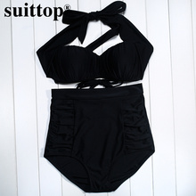 suittop High Waist Bikini Swimsuit Sexy Push Up Halter Bathing Suits Black Strap Swimwear Bodysuit Plus Size Swimming Suit XXXL