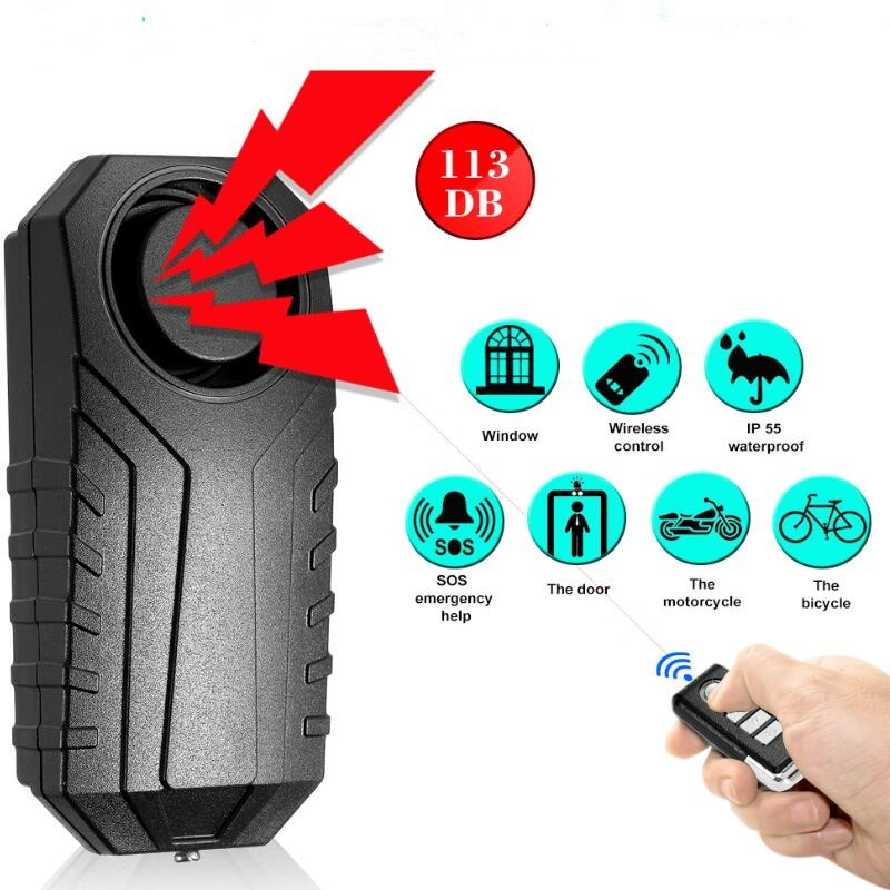 113dB Loud Wireless Bicycle Anti-theft Alarm Waterproof Door  Window Vibration Alarm Intelligent Remote Control Alarm Sensor