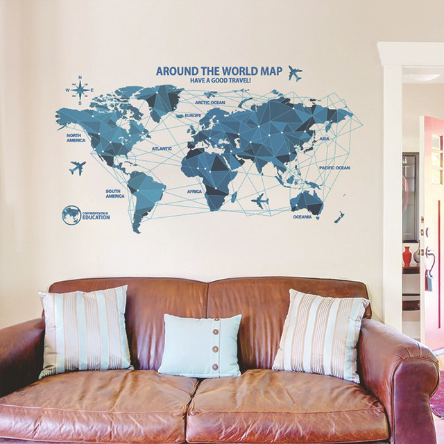 Creative World Map Wall Stickers Science Technology Origami Map Wall Decal  Home Decor Art Living Room