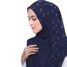 72*175 см, летний мусульманский женский шифоновый хиджаб с пузырьками, шарф с бриллиантами, блестящий женский платок, мусульманский платок, малазийский хиджаб