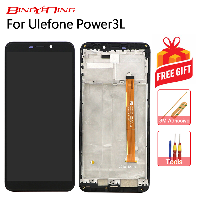 BingYeNing New Original For Ulefone Power 3L Touch Screen LCD Display Frame Assembly Replacement