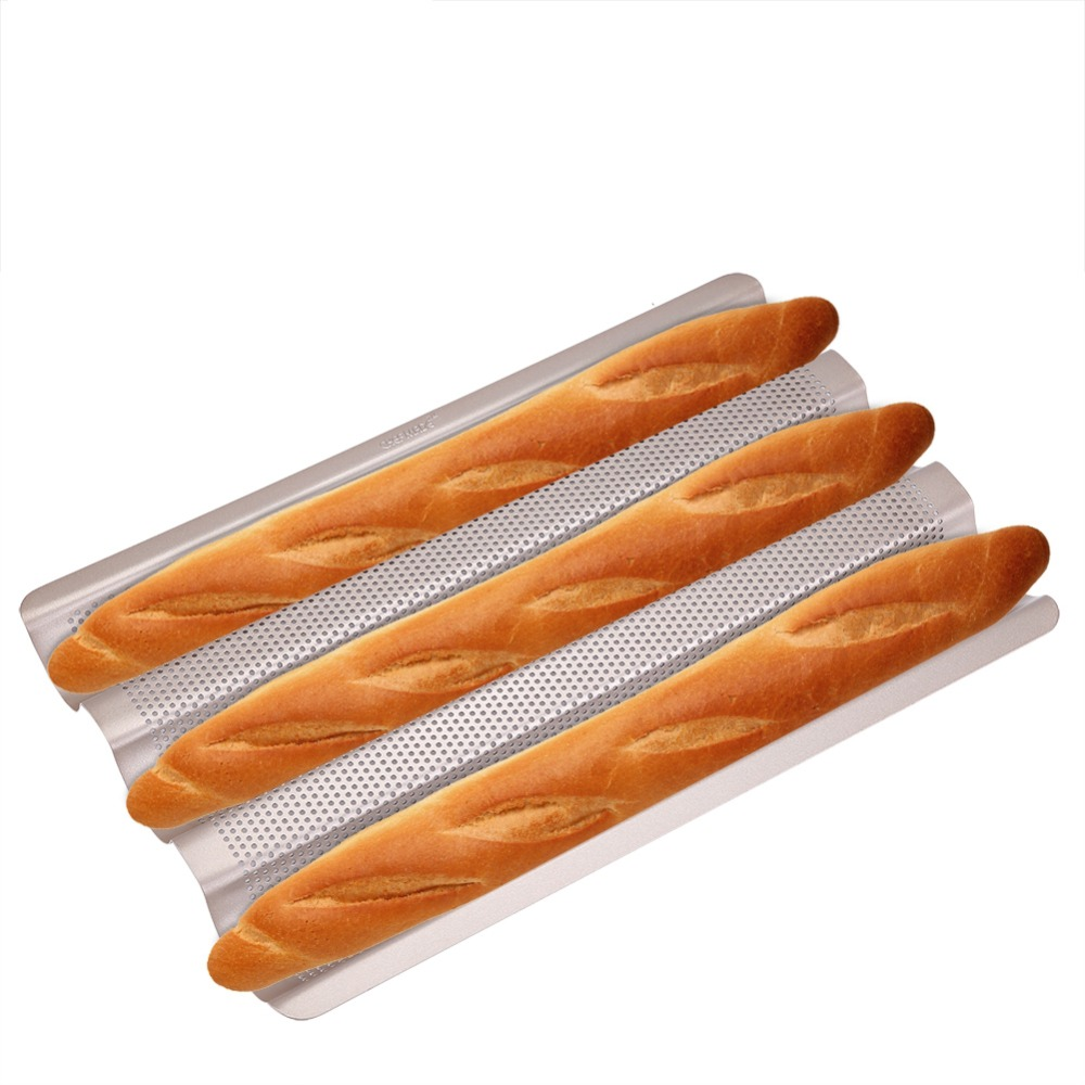 10/15Inch Food Grade Carbon Steel 3-slot Non Stick Wave French Bread Baking Tray For Baguette Bake Mold Pan Loaf Mould Bake Tool