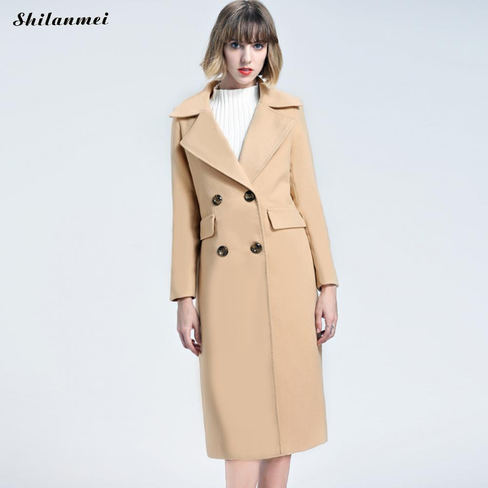 New arrival women coat 2018 spring women turn down collar coats slim long double-breasted overcoats camel pink feminine coat XL